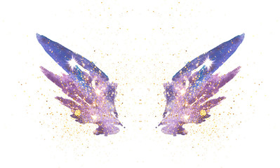 Gold glitter on abstract blue watercolor wings in vintage nostalgic colors.