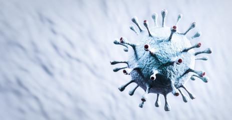 Coronavirus cell in microscopic view. Virus from Wuhan