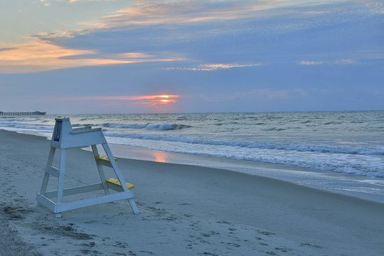 Lifeguard stand on the shores Myrtle Beach in South Carolina at dusk