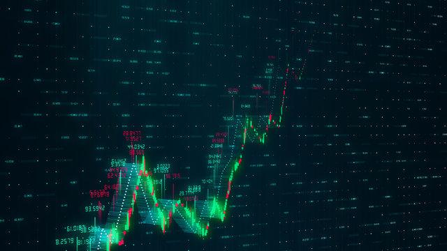 Financial digital stock market graph chart. 3d rendering - illustration.