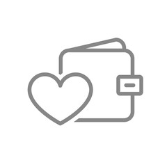 Wallet with heart line icon. Money insurance, like, feedback symbol