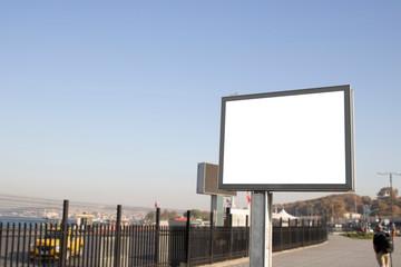 Empty rectangular bilboard. Photographed on the edge.