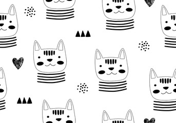 Animal seamless pattern with cat and different shapes. Abstract baby background illustration.
