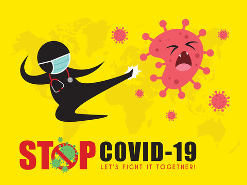 Stick figure man in medical face mask fly kick coronavirus. Stop coronavirus (covid-19) vector illustration. Doctor fighting coronavirus pictogram. Epidemic infectious disease concept art poster.