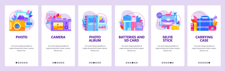 Photo camera, photography icons. Photo album, batteries and memory card. Mobile app onboarding screens. Menu vector banner template for website and mobile development. Web site design illustration