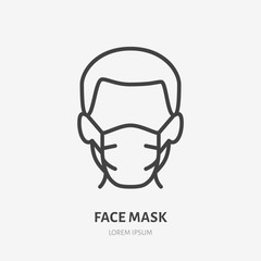 Man in face mask line icon, vector pictogram of disease prevention. Protection wear from coronavirus, air pollution, dust, flu illustration, sign for medical equipment store