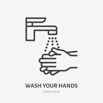 Wash your hands line icon, vector pictogram of personal hygiene. Disease prevention, hand disinfection illustration, sign for public restroom warning poster