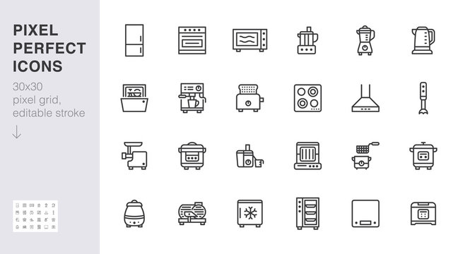 Kitchen appliance line icon set. Oven, mixer, dishwasher, food processor, combi steamer minimal vector illustrations. Simple outline signs of cooking equipment. 30x30 Pixel Perfect. Editable Strokes