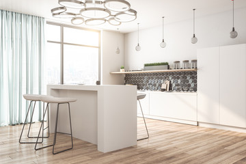 Bright loft kitchen interior with furniture