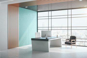 Luxury office interior with city view