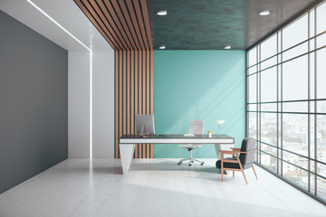 Contemporary office interior with city view