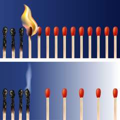 Concept de la propagation d'une épidémie avec des allumettes qui par proximité se transmettent leurs flammes et d'autres qui endigue la contagion en gardant leurs distances.
