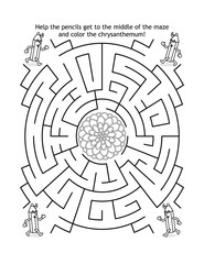 Maze game and coloring page for kids with pencils and chrysanthemum flowerhead