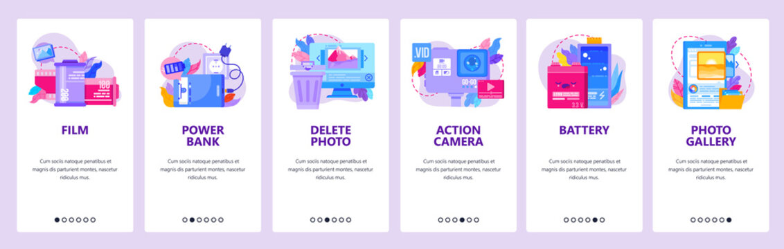 Photographic film, photo camera. Battery, action camera, delete photo, gallery. Mobile app onboarding screens. Vector banner template for website and mobile development. Web site design illustration