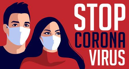 Stop Coronavirus pandemic. Man and woman in white medical face mask. Vector illustration of coronavirus quarantine. Design concept for banner, poster, background template.