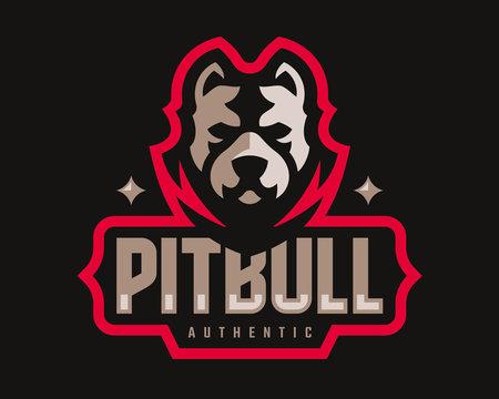 American pitbull modern logo. Dog design emblem template for a sport and eSport team.