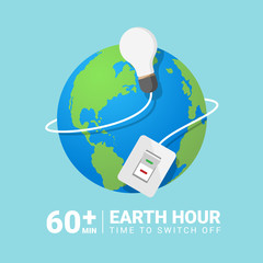 Earth Hour Day banner with switch Turn off the lights around the earth vector design