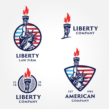 Set of Solid And Bold Liberty Statue Badges.
