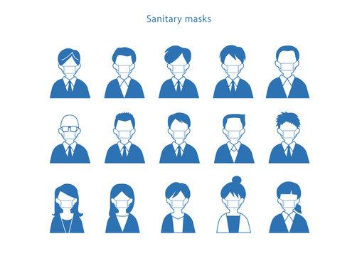 マスク 衛生 face mask アイコン ボタン 風邪 花粉症 ウイルス 予防 ベクター AI 素材