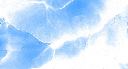 Abstract light sky blue alcohol ink background. Liquid watercolor paint splash texture effect...