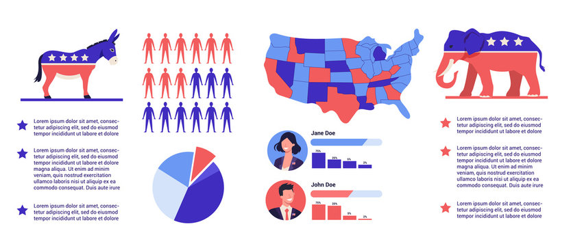 2020 presidential election in the USA icon set. Election campaign