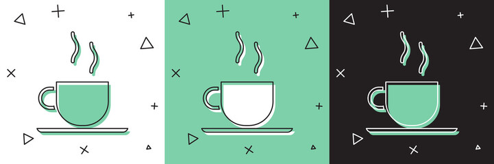 Set Coffee cup icon isolated on white and green, black background. Tea cup. Hot drink coffee. Vector Illustration Fototapete