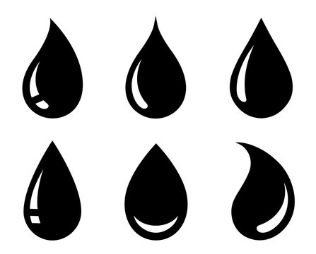 black abstract glossy drop icons set silhouette