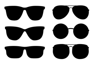 set of black sunglasses and glasses silhouettes