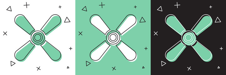 Set Plane propeller icon isolated on white and green, black background. Vintage aircraft propeller. Vector Illustration Wall mural