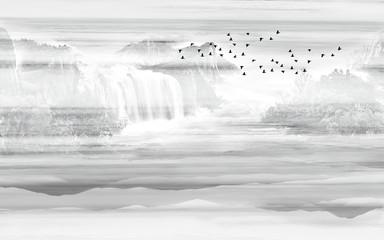 Monochrome landscape illustration, waterfalls, flock of black birds in the sky - 330745782