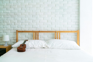 empty white brick wall bedroom minimal style room with copy space. Minimal, Bedroom, Home sweet home, lifestyle, background or modern home concept