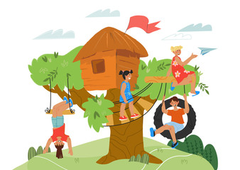 Foto op Aluminium Rivier, meer Tree house kids activity on nature game banner. Children cartoon characters playing on playground in kindergarten on at park. Summer leisure and vacation, recreation. Flat vector illustration.