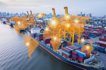 world network distribution and logistics connection industrial with worldwide imports and exports transportation background. distribution, delivery business, commercial or supply chain concept
