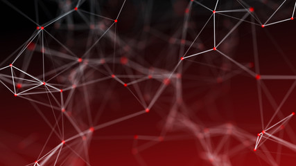 Red abstract space with connecting dots and lines. Network connection structure. Dark background....
