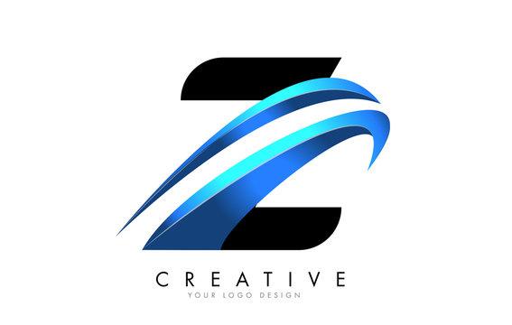 Z Letter logo with blue gradient swash design.