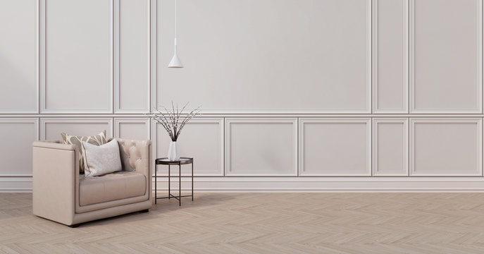 Modern classic interior.Armchair,pillows,side table with vase and ceiling lamp.White wall and wooden floor. 3d rendering