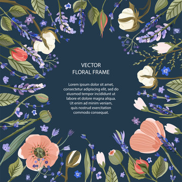 Floral greeting card vector template. Frame with hand drawn leaves and wild field poppy, lavender, cotton and roses flowers illustrations in a flat style.