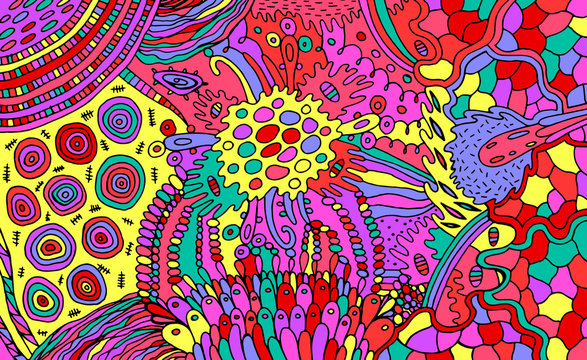 Organic psychedelic colorful pattern. Multicolor stoner illustration. Waterdrops and plants elements. Zendoodle art for relaxation. Vector artwork