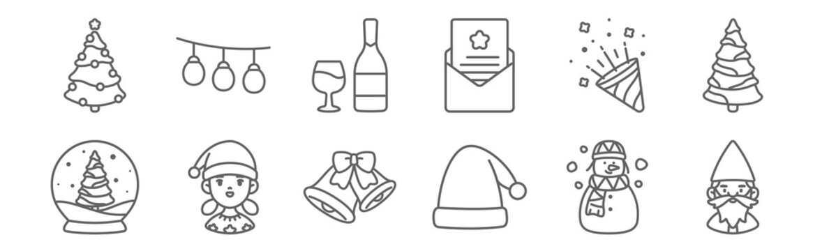 set of 12 christmas icons. outline thin line icons such as gnome, santa hat, girl, fireworks, wine, christmas lights