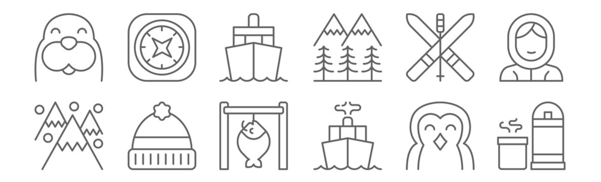 set of 12 arctic icons. outline thin line icons such as canteen, navy, beanie, skiing, ship, compass