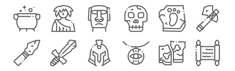 set of 12 history icons. outline thin line icons such as papyrus, amulet, sword, footprint, moai, caveman Fotomurales
