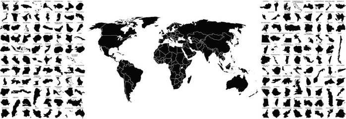 big set of countries maps and world map with countries borders