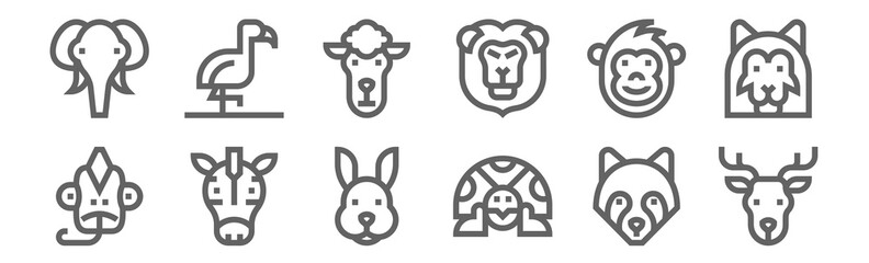 set of 12 wildlife icons. outline thin line icons such as deer, turtle, zebra, monkey, sheep, flamingo