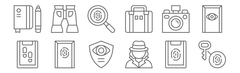 set of 12 detective icons. outline thin line icons such as fingerprint identification, detective, office, camera, fingerprint, binoculars