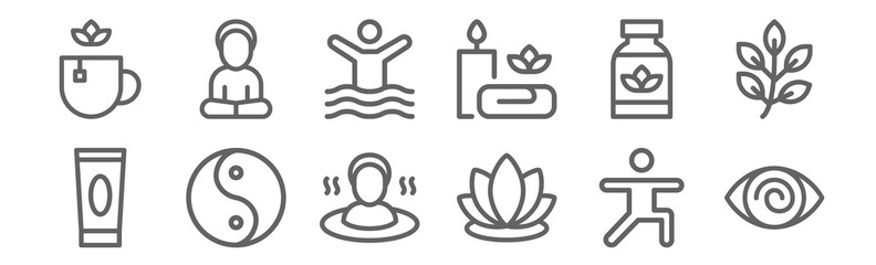 Fototapeta set of 12 therapy icons. outline thin line icons such as hypnosis, lotus, yin yang, supplement, physiotherapy, yoga