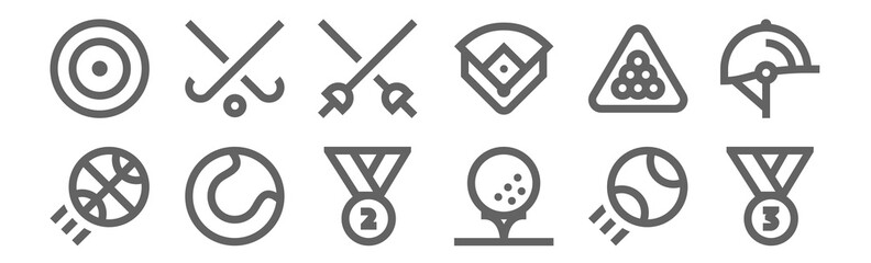 set of 12 sports icons. outline thin line icons such as third place, golf ball, baseball ball, billiard, fencing, field hockey Fotomurales