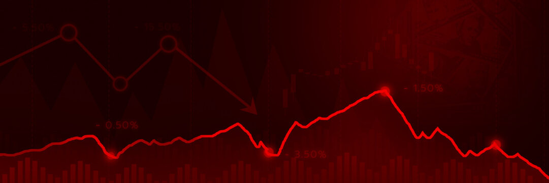 Line chart red down trend currency widescreen.