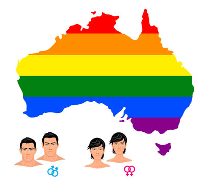 Lgbt flag in contour of Australia. Same sex symbols. Men and women  detailed icons. Rainbow flag in contour of Australia. Vector illustration.