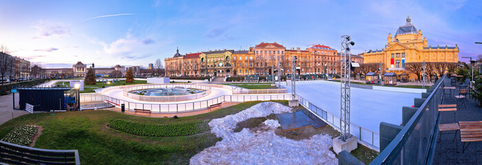 Printed roller blinds Nice Tomislav square in Zagreb ice skate park advent evening panoramic view