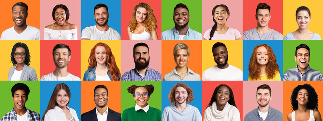 Mosaic Of Cheerful Multiethnic People Faces On Colorful Backgrounds, Panorama Wall mural